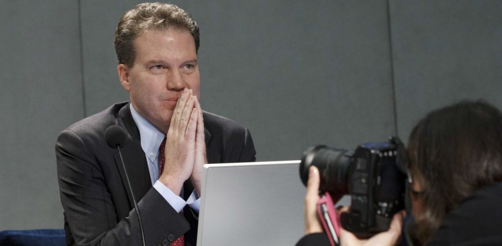 Greg Burke, new Director of Holy See Press Office, at the Vatican Press conference room.