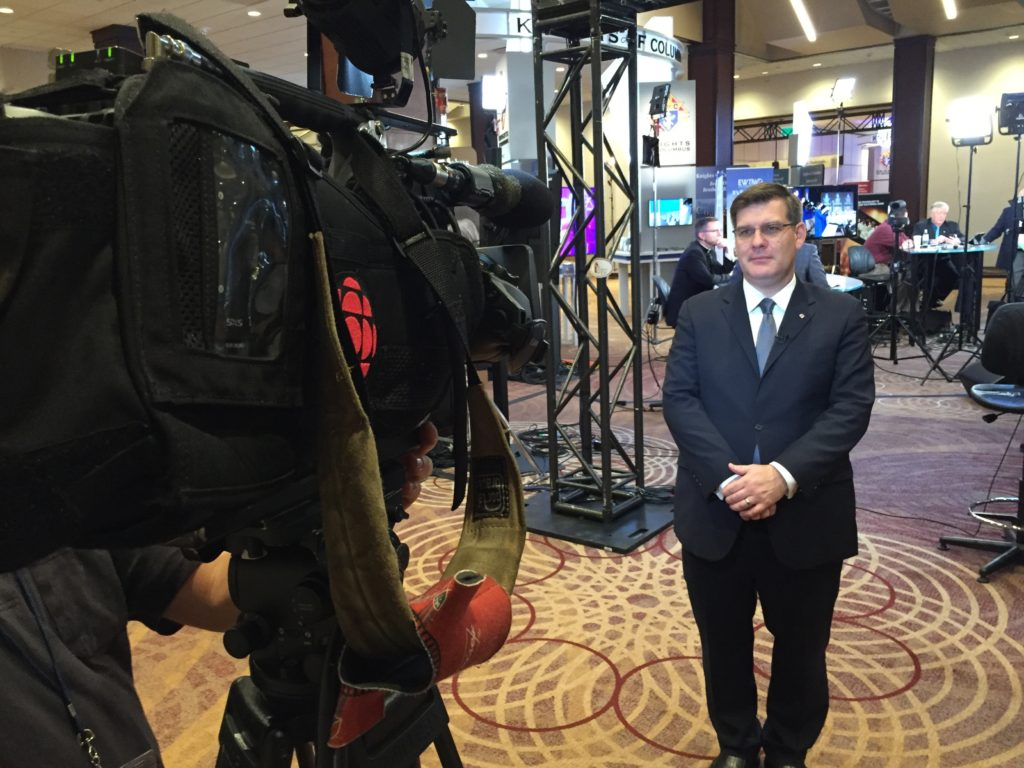 Andrew Walther, vice president communications and strategic planning, speaks to CBC at 2016 Supreme Convention in Toronto, Canada.