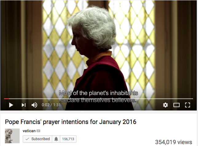 Video from Pope Francis' January prayer intention