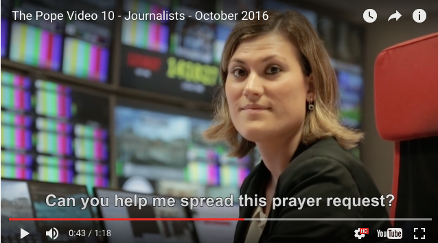 Screen shot from Pope Francis' inspiration prayer intention for Oct., 2016, on journalists.